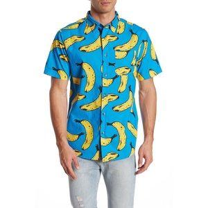 ⬇️ M, L 🍌 Banana Print Button Up Shirt
